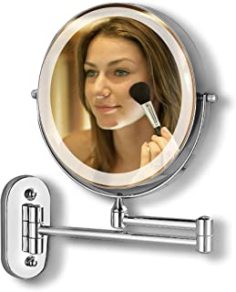 Wall Mounted Makeup Mirror with LED Lights and 7X Magnification Touch Dimmable Bathroom Shaving Mirror Double Sided Extend...