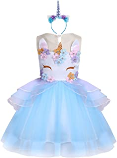 Baby Girl Unicorn Costume Pageant Flower Princess Party Dress with Headband