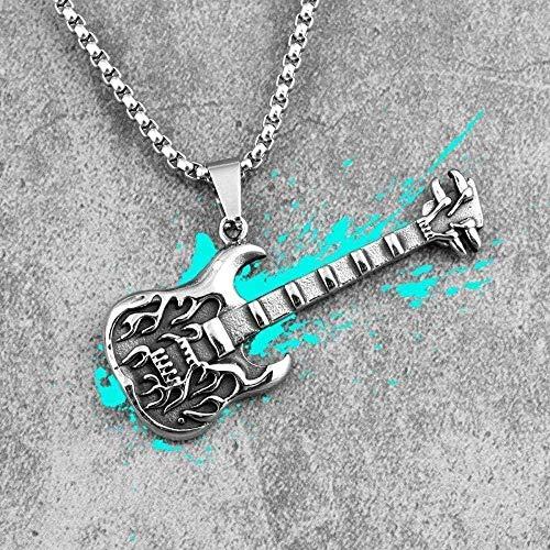 NONGYEYH co.,ltd Guitarra Rock Hombre Collar Largo Colgante Cadena Punk Novio Hombre Joyería de Acero Inoxidable Regalo