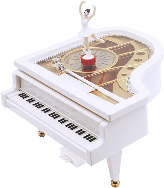 AVESON Music Box Classical Grand Piano Shape Mechanical Ballerina Girl Dancing Kids Birthday Christmas Gift Toy Melody For Elise