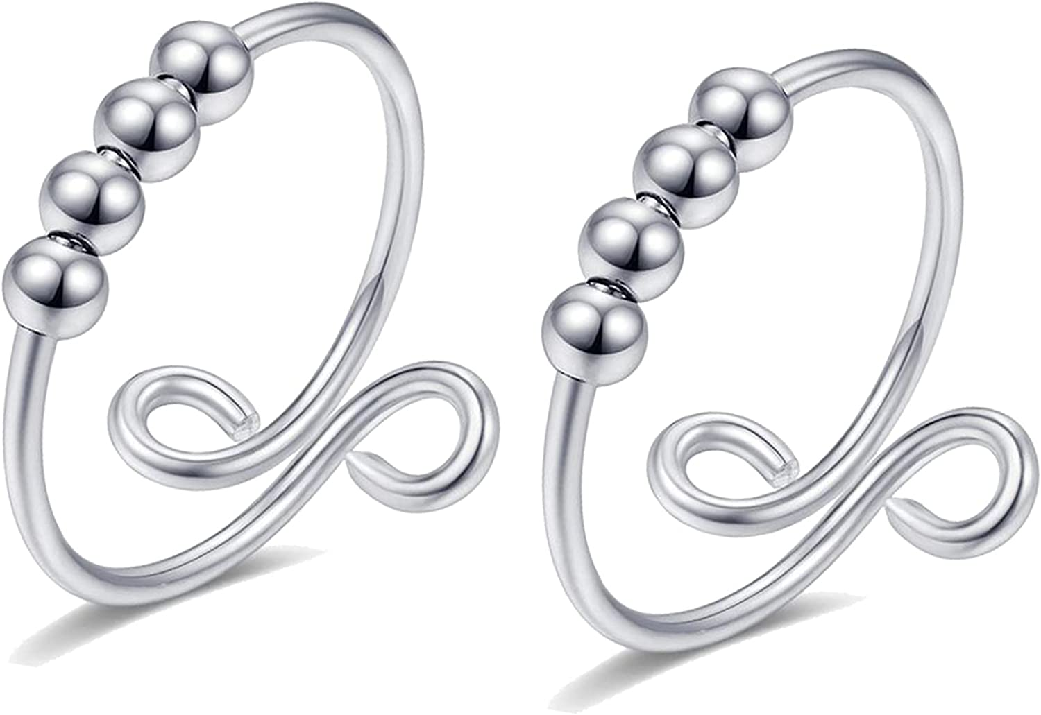 Anxiety Rings With Beads Fidget Spinning Rings for Women Worry Anxiety Beads Rings for Men