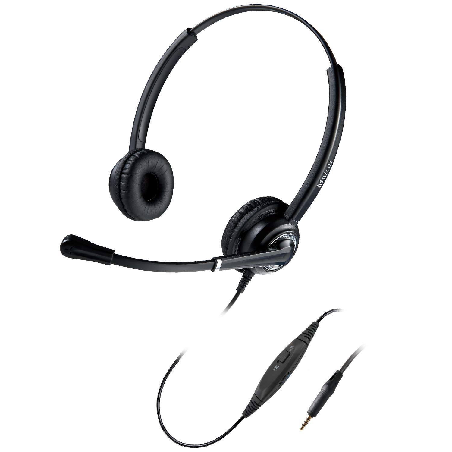 Amazon Com Mairdi Cell Phone Headset With Microphone Nosie Cancelling Wired 3 5mm Headset For Iphone Samsung Mobile Ipad Computer Laptop Tablets W Mic Mute Volume Control Light Weight Adjustable Headband Electronics