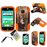 3items Combo: ITUFFY(TM) LCD Screen Protector Film + Stylus Pen + 2 tone Design Dual Layer KickStand Tuff Impact Armor Hybrid Soft Rubber Silicone Cover Hard Snap On Plastic Case for 2nd Generation ZTE Whirl2 Z667G / ZTE Prelude2 Z667T / ZTE Zinger Z667 (Deer Camouflage - Orange)