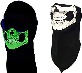 USA Made Black Cotton Glowing Skull Bandana Face Cover Scarf Neck Shield