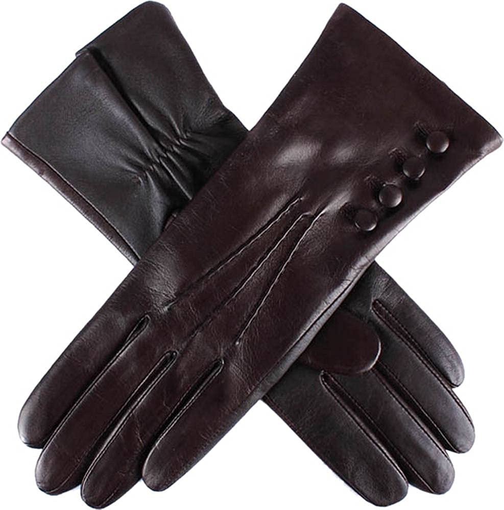 Dents Womens Natalie Silk Lined Hairsheep Leather Touch Screen Gloves - Mocca Brown