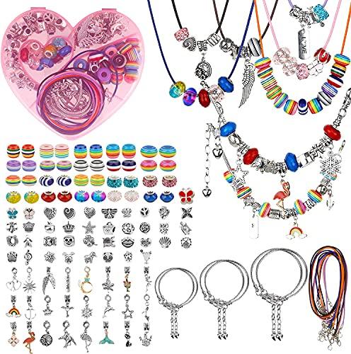 Kommunion Geschenke für Mädchen - 117 Stucks Charm Armband Making Kit DIY Geschenke für Mädchen Teens Schmuck Bastelset Mädchen, Teenager Mädchen Geschenke 8-12 Jahre ( 6 Silber Kette )