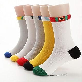 QZHYGE, QZHYGE 5 Pares de Calcetines de algodón para niños Primavera sección Delgada Calcetines Deportivos para niños niñas Primavera y Verano en el Tubo Calcetines de algodón