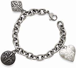 Titanium/Sterling Silver Black Ti Polished Etched Charm Bracelet 8'' inches Length