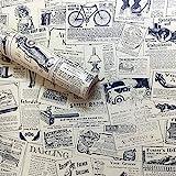 Lependor Retirable Autoadhesivo Impreso Palo Cáscara de papel tapiz vintage es Fondo Decorativo Estante del cajón de la cubierta del rodillo - Periódico, 0.45m x 10m