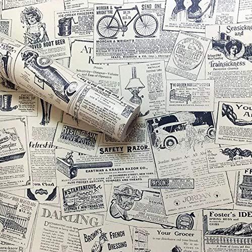 Lependor - Papel pintado autoadhesivo para recámara, sala de estar,diseño de periódico antiguo, newspaper - 45cm x 3m