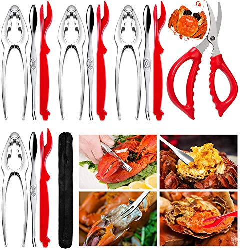 14 Pcs Crab Lobster Crackers Seafood Tools Set Includes 4 Crab Leg Crackers, 4 Lobster Shell Knife, 4 Crab Forks/Picks and 1 Seafood Scissors & Storage Bag - Nut Cracker Set