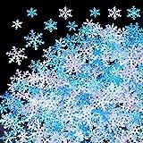 HOWAF 500 Stück Weihnachten Schneeflocken Konfetti, Weihnachten Winter deko Blau und Weiß Schneeflocken Streudeko Schneeflocken Konfetti Tischdeko, Hochzeit, Geburtstag, Weihnachts Dekorationen