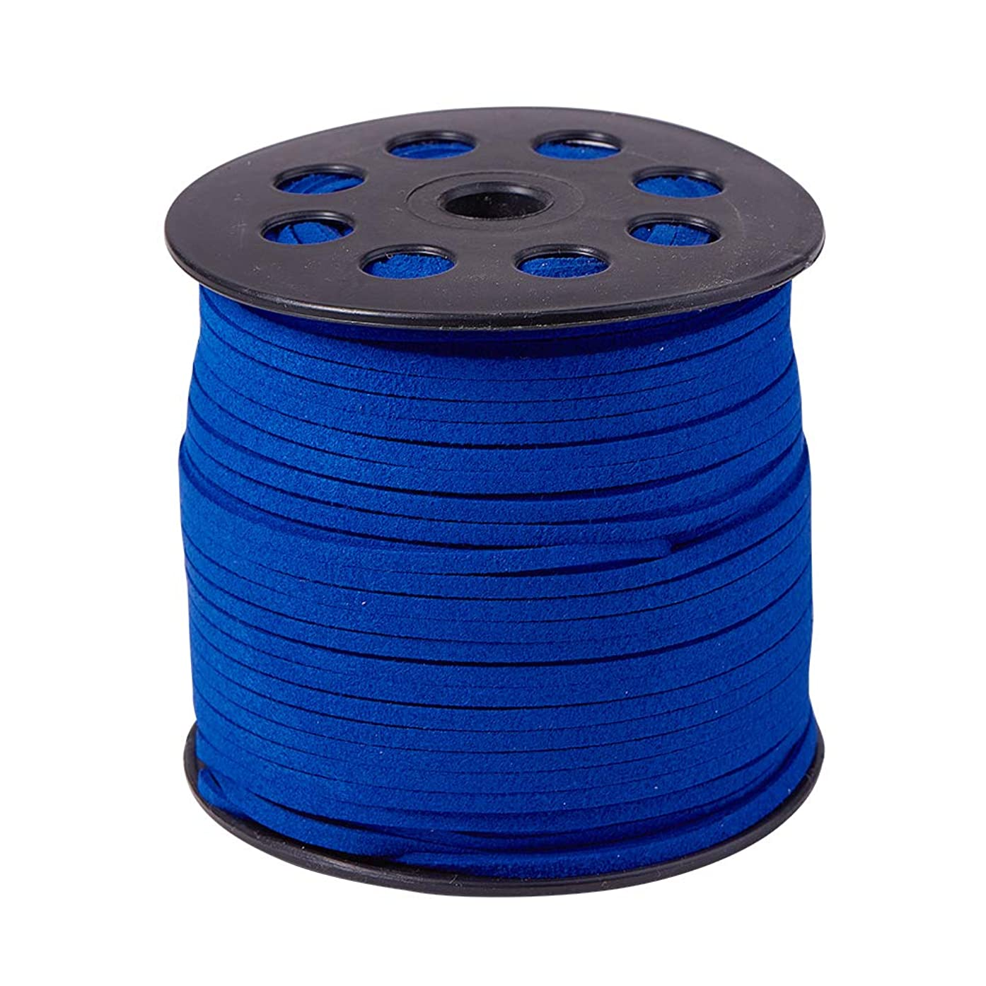 PH PandaHall 1 Roll (98 Yards, 295 Feet) 2.5mm Wide Faux Suede Cord Flat Micro Fiber Lace Leather Spool for Beading Necklace Jewelry Making (Blue)