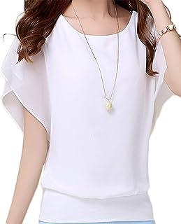 [セカンドルーツ] フレアスリーブシフォン レディース 半袖 丸首 タンクトップ 裾リブ フレアスリーブシフォンプルオーバー