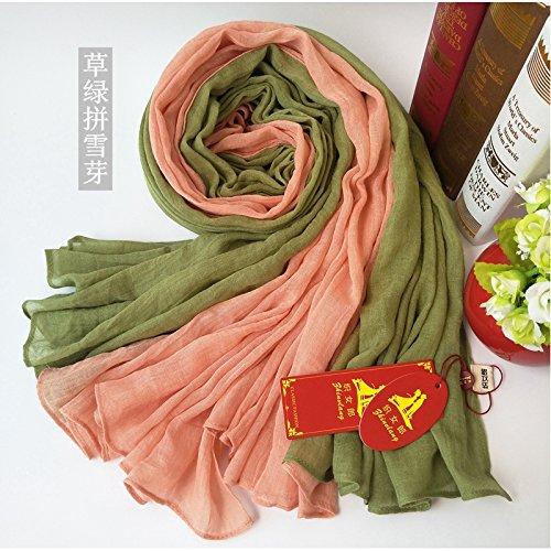BAGEHUAN zweifarbige Nähte Baumwolle und Leinen Schals Frauen Herbst und Winter Bettwäsche Langer Absatz Schal Dual-Warm mit Schal Studenten, V