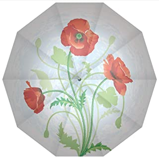 10 Ribs Travel Umbrella UV Protection Auto Open Close Floral,Poppy Flowers Bouquet Meadow Beauty Rural Petal of Fragrance Image,Scarlet Windproof - Waterproof - Men - Women -Lightweight- 45 inches