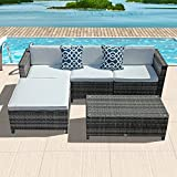 Patiorama 5pc Outdoor PE Wicker Rattan Sectional Furniture Set with Cream White Seat and Back Cushions, Red Throw Pillows, Steel Frame, Gray