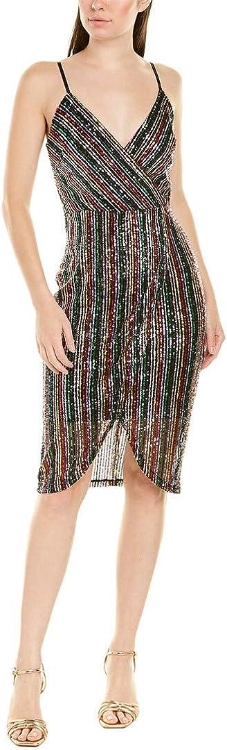 Betsey Johnson Women's Sequin Stripe Wrap Dress