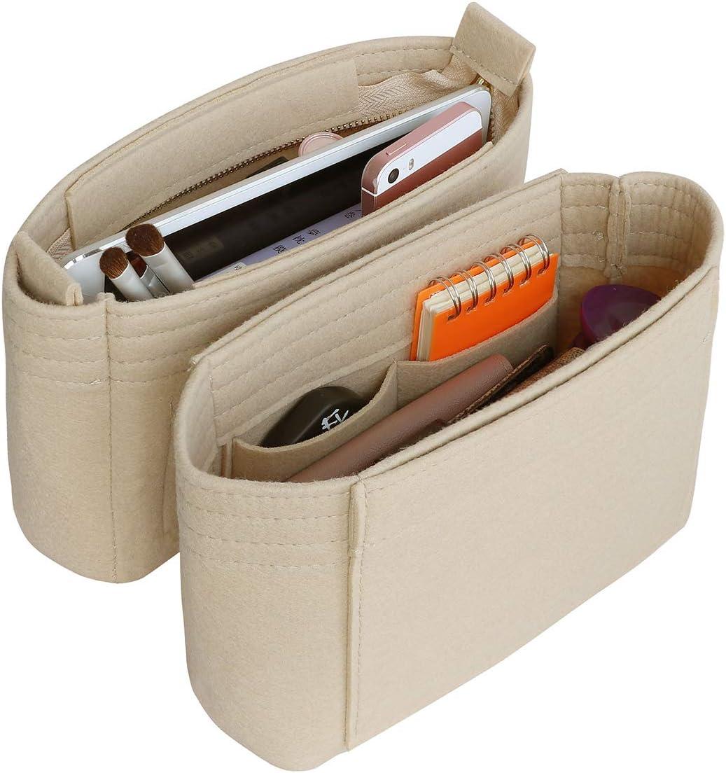 beige - SS-BAG-2LVorganiser-beige 2 piezas SHINGONE Bolsa organizadora de fieltro para LV NeoNoe organizador de bolso con cremallera Beige organizador de m/últiples bolsillos para mujer