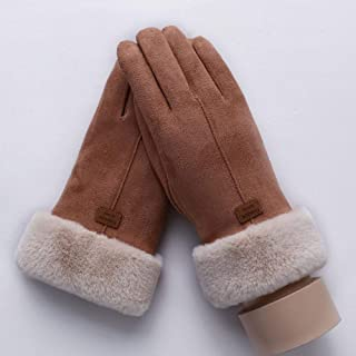 Women Touch Screen Suede Glove Winter Double Layer Furry Mittens Warm Snowflake Embroidery Outdoor Fashionable Gloves Women's Gloves