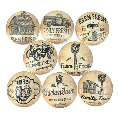 Set of 8 Vintage Farmhouse Wood Cabinet Knobs