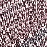 Stoff Baumwollstoff Meterware Japan Wellen rot dunkelrot