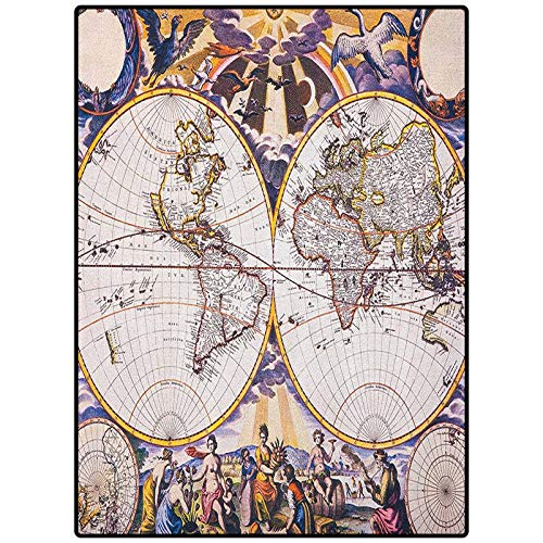 World Map Area Rug Floor Mat Hallway Entry Antique Map with Farmers Field Sun Birds Clouds Fantasy Sky in Old Painting Style Multicolor 48' x 24'