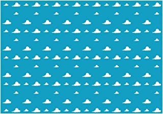 Funnytree 7X5ft Blue Sky White Clouds Backdrop Cartoon Kids Birthday Party Boy Baby Shower Background Step and Repeat Dessert Table Banner Photo Studio Photography Props