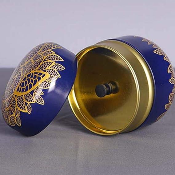 Bo/îte /à Th/é Metal Bleu Lunji Vintage Petite Boite Rangement Bijoux Bonbon Cadeau