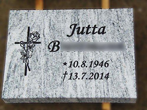 designgrab Grabplatte aus Granit Viscont White, inkl. Beschriftung von Vor- und Nachname sowie Geburts- und Sterbedatum
