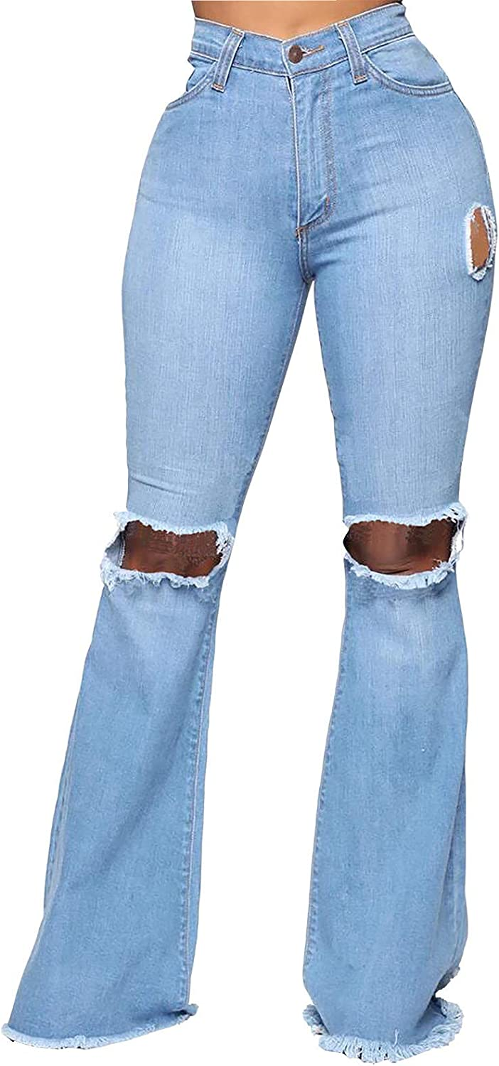 Fankle Womens Bell Bottom Denim Wrinkle Jeans High Waist Stretchy Flare Juniors Knee Ripped Pants