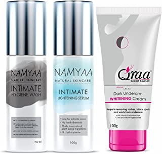 QRAA Namyaa Complete Intimate Care Set (Lightening Intimate Serum, 100 g with Intimate Wash, 100 g and Advanced Lacto Unde...