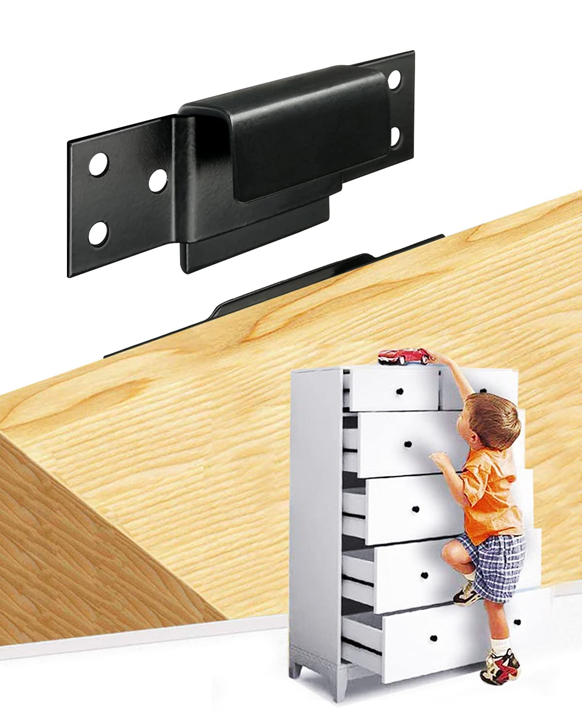 Furniture Anchor Furniture Wall Anchors for Baby Proofing MONDOME Removable Baby Proofing Furniture Anchors 4PCS 500 Pound Heavy Duty Metal Secure Baby Pet Safety (Black)