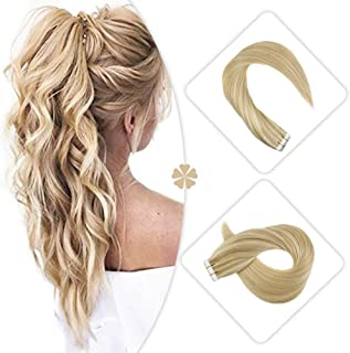 Hetto Seamless Tape on Hair Extensions #16 Golden Blonde with #22 Light Blonde Tape Hair Extensions Hair Seamless Skin Weft Remy 16 Inch Glue in Hair Extensions Short 100g/40pcs