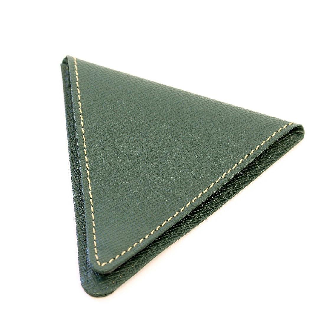 アボートステーキ差別小銭入れ トライアングル形状の、インパクトのある 便利な 8mm コインケース ダークグリーン
