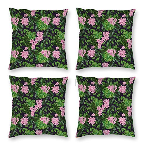 Pillow Covers 18 x 18 Inch Set of 4, Tropical Composition of Florals And Exotic Palm Leaves Drawings, Apple Rose And Indigo Decorative Throw Pillow Case Cushion Cover for Sofa Couch Sofa Home Decor