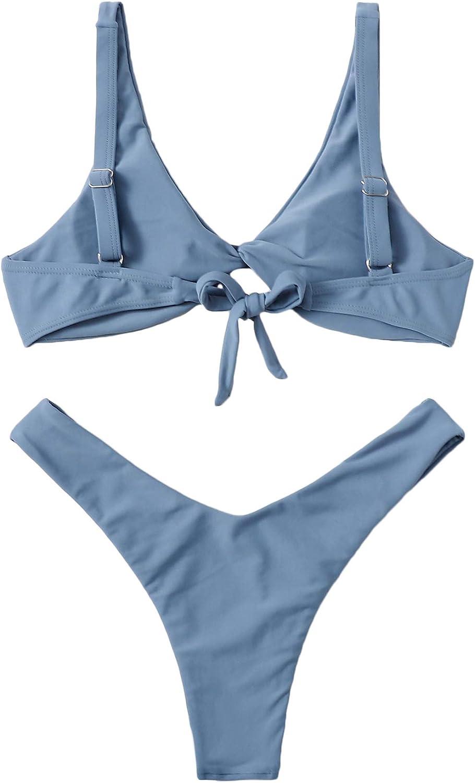Verdusa Women's Twist Front High Cut Thong Two Piece Bikini Set Swimsuit