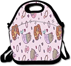 Cat Kitty Pink Purple Pusheen Neoprene Reusable Lunch Bags,Lunch Bag Tote Bag Kids Cute Igloo Lunch Boxes Insulated Lunch Box for Women/Men/Office/School,Cat Kitty Pink Purple Pusheen