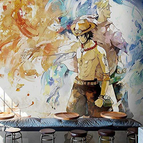 LJIEI papel pintado 3d moderno dormitorio infantil Pegatinas de pared Sala Living Dormitorio One Piece Comics en blanco y negro Naruto Dormitorio Anime 3D