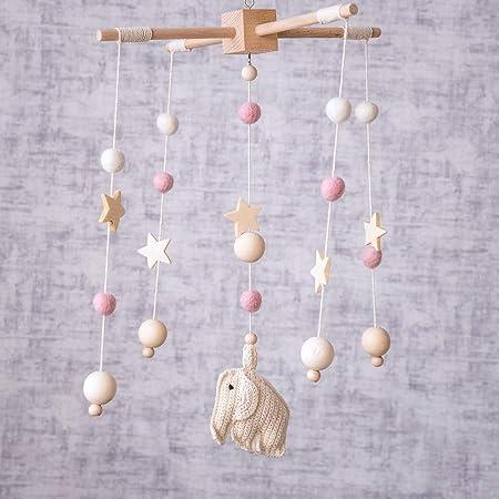 Okawari Home ベッドメリー 木製 モービル かぎ針編み かわいい象 ホワイト 羊毛フェルト ゆらゆらおもちゃ 木のおもちゃ 赤ちゃん 初めてのおもちゃ ベビー 誕生日プレゼント 出産祝い
