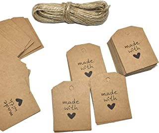Renashed 200 Pcs Kraft Paper Gift Tags Rectangle Craft Hang Tags with 33 Feet Natural Jute Twine (Madewith-200)