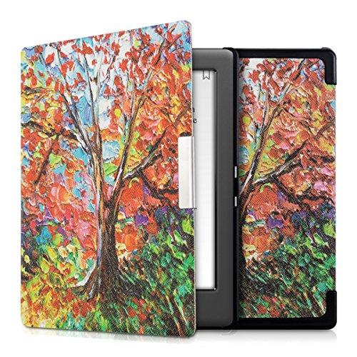 kwmobile Custodia Compatibile con Kobo GLO HD/Touch 2.0 - Cover in Simil Pelle Magnetica Flip Case Custodia per eReader Multicolore/Arancione/Rosso