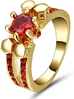 Women's Ring with Red Ruby Stone Size US 8
