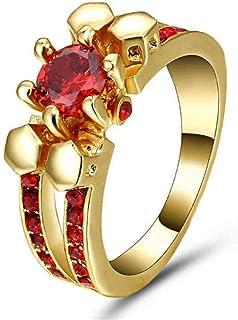 خاتم نسائي ذهبي بحجر الروبي الأحمر مقاس أمريكي 8