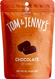 Tom & Jenny's Sugar Free Soft Caramel Candy with Chocolate and Sea Salt - Low Net Carb Keto Diet (Moderate 100g Lifestyle) - with Xylitol and Maltitol - (Chocolate Caramel, 1-pack)