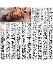 Tijdelijke tatoeages 60 vellen-Waterdichte Kleine nep Tattoo, Boemen Kronen Sterren dier Vlinder Collectie tats voor Kinderen Volwassenen Mannen en Vrouwen.