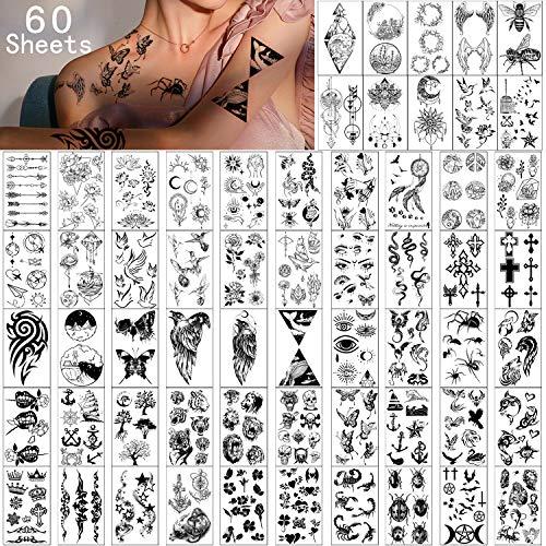 Temporäre Tattoos 60 Blatt - Wasserdicht Tiny Fake Tattoo, Blumen Kronen Sterne Tier Schmetterling Sammlung Tats für Kinder Erwachsene Männer und Frauen.