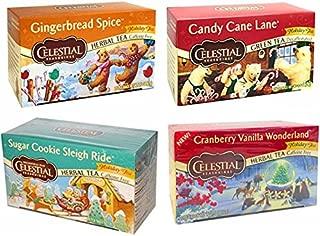 CELESTIAL SEASONINGS HOLIDAY VARIETY DECAF HERBAL TEAS, 20 BAGS, (PACK OF 4)