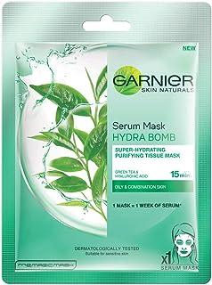 Garnier Skin Naturals, Green Tea, Face Serum Sheet Mask (Green, 28g/32g, weight may vary)