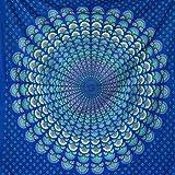 MOMOMUS Mandala Wandteppich - als Strandtuch/Pareo tuch groß, Tagesdecke - Aesthetic, Modern, Vielseitig - 100% Baumwolle (Blau 2, 210x230 cm)